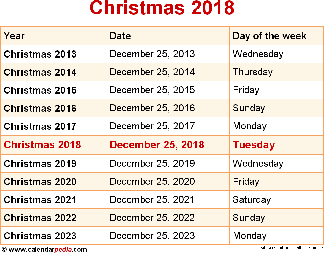 dates of christmas 2018 and surrounding years as downloadable image file - Whens Christmas Day