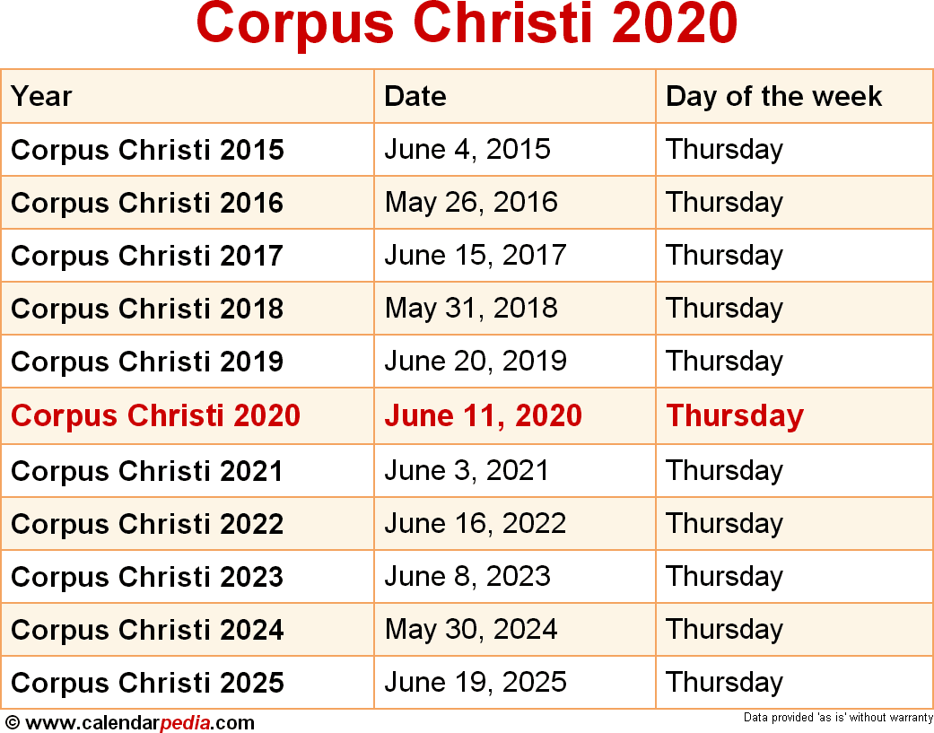 Corpus Christi Calendar Of Events 2020 When is Corpus Christi 2020 & 2021? Dates of Corpus Christi