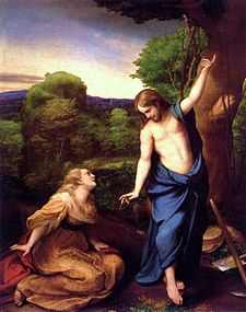 Resurrected Jesus and Mary Magdalene, by Antonio da Correggio, 1543