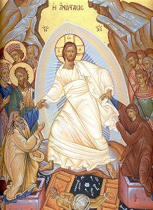 Jesus' resurrection on Easter Sunday (modern Greek icon)