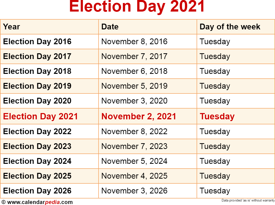 Election Calendar 2022.When Is Election Day 2021