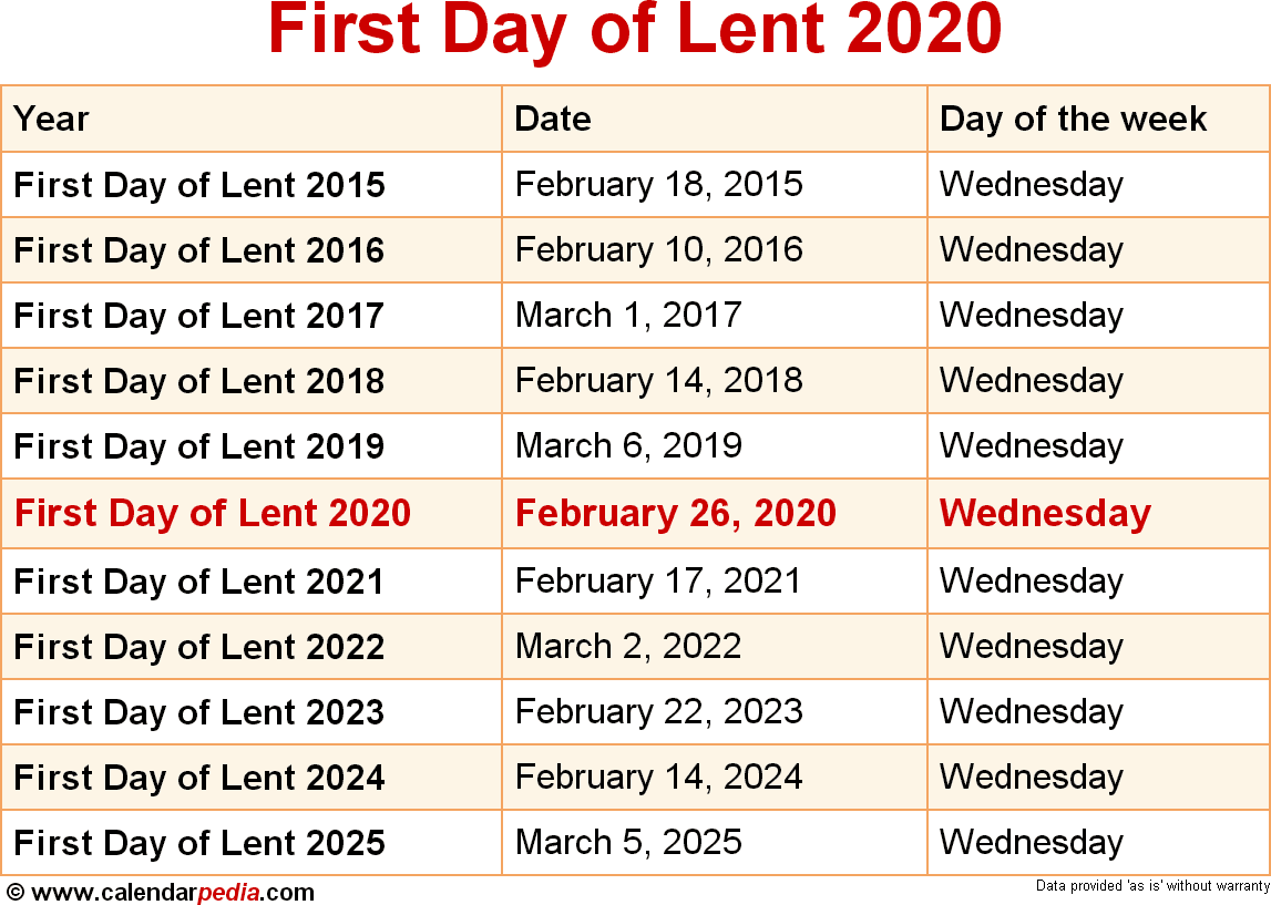 Lent Calendar 2020 When is First Day of Lent 2020 & 2021? Dates of First Day of Lent