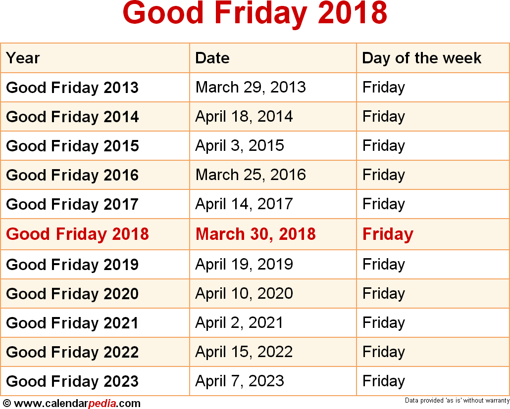 Good Friday 2018