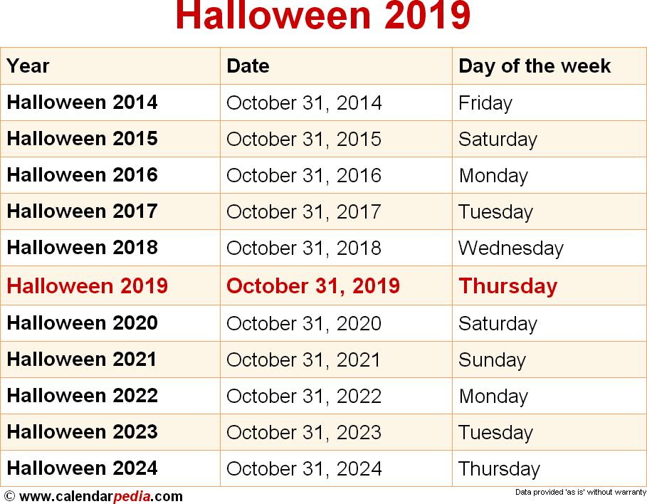 Halloween Calendar 2020 When is Halloween 2019 & 2020? Dates of Halloween