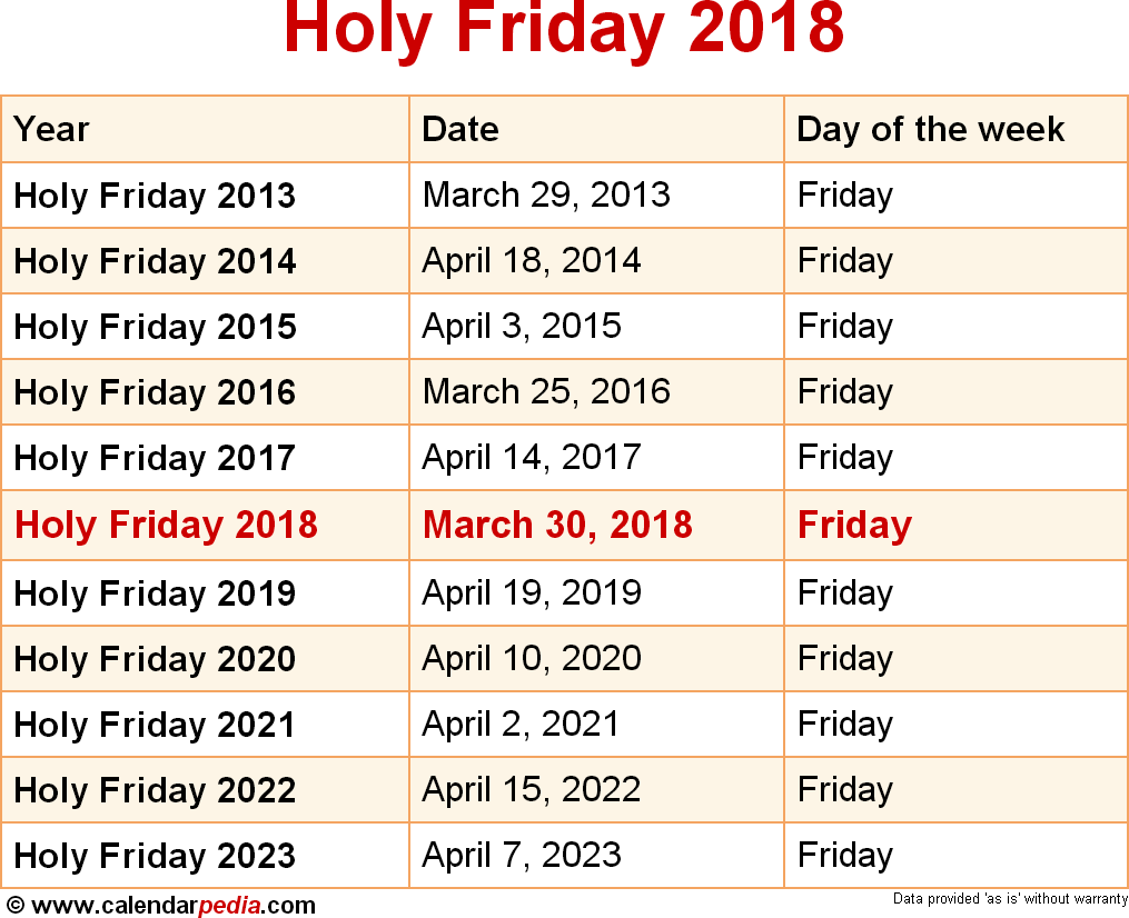 Holy Friday 2018