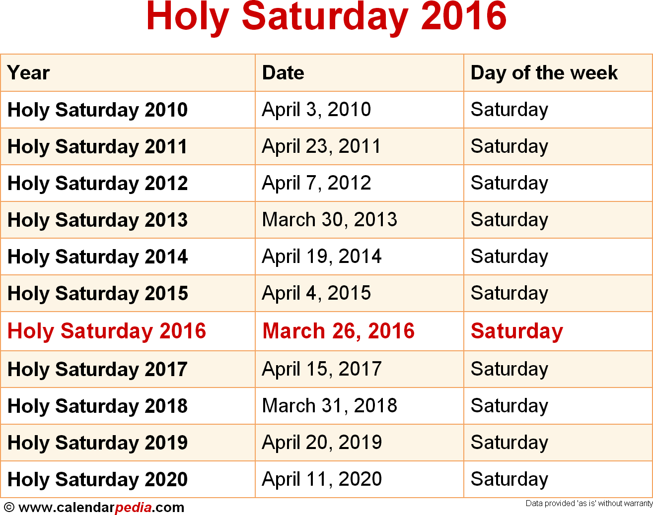 Holy Saturday 2016