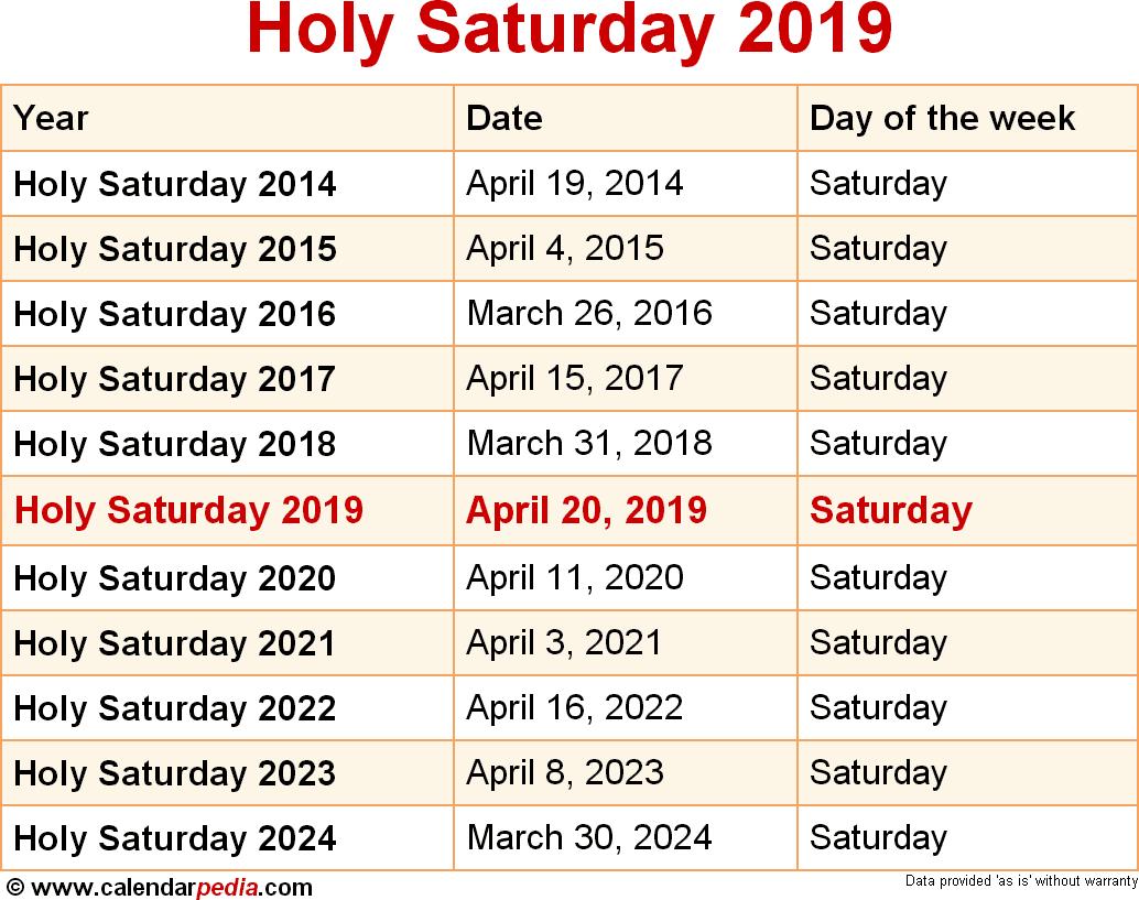 Holy Saturday 2019