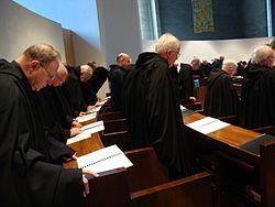 Benedictine monks singing Vespers on Holy Saturday