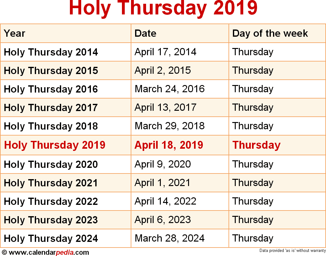 dates for holy thursday from 2014 to 2024