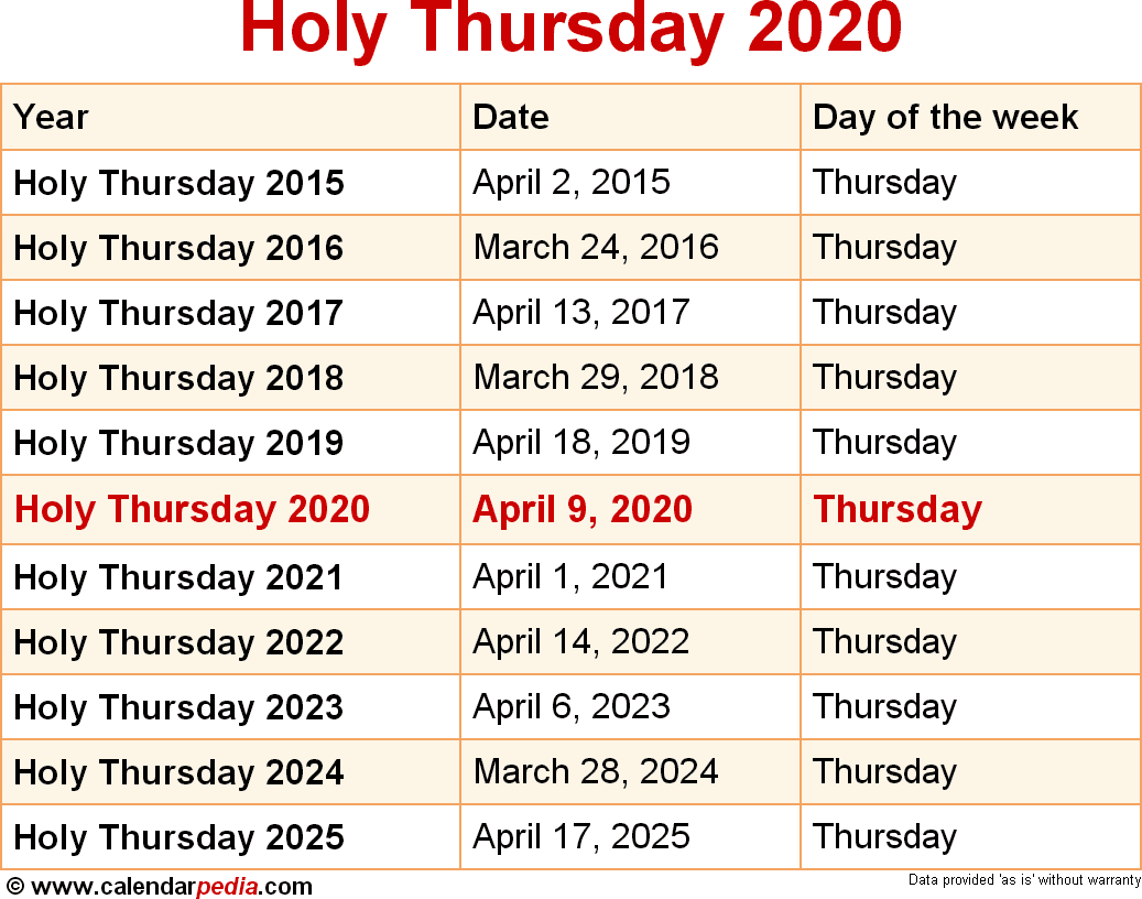 Feast Day Calendar 2020 When is Holy Thursday 2020 & 2021? Dates of Holy Thursday