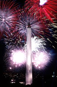 Fireworks display over the Washington Monument on Independence Day