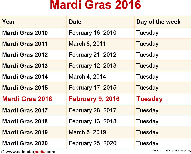 Dates For Mardi Gras 2016