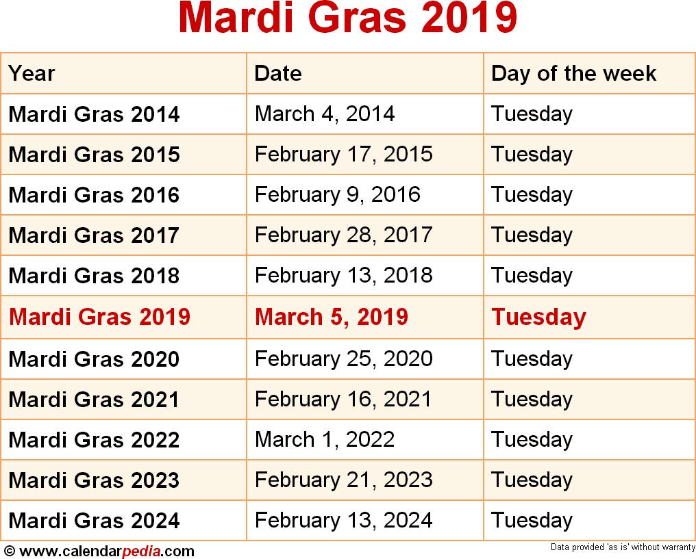 Mardi Gras 2019 Calendar Mardi Gras 2019   a k b.info