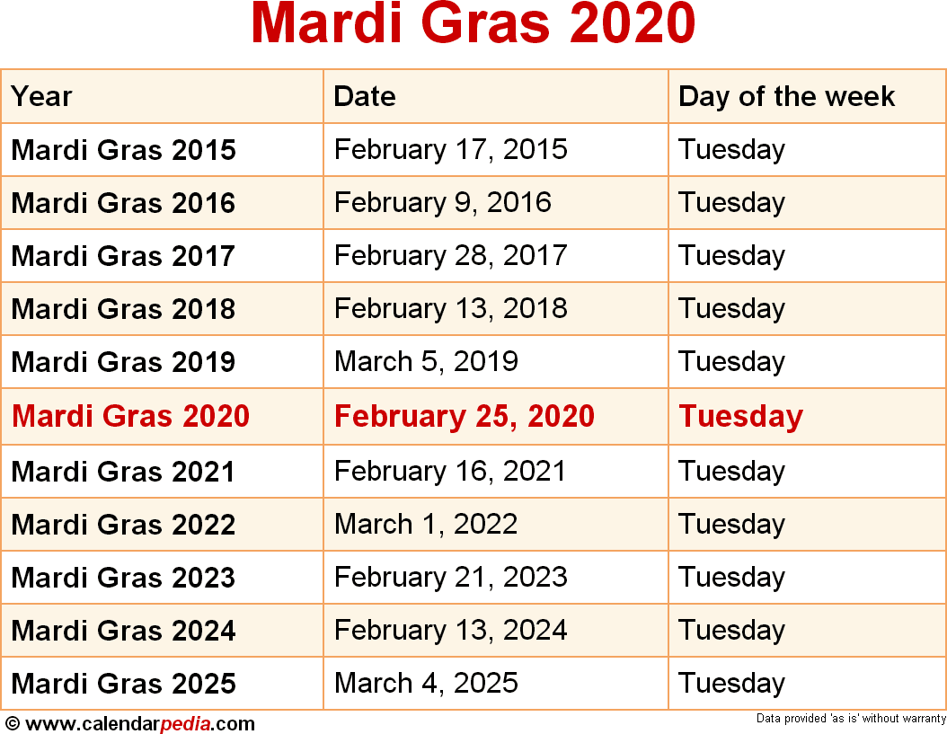 2019 Mardi Gras Calendar When is Mardi Gras 2020 & 2021? Dates of Mardi Gras