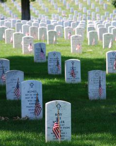 Memorial Day decorations at Arlington National Cemetery