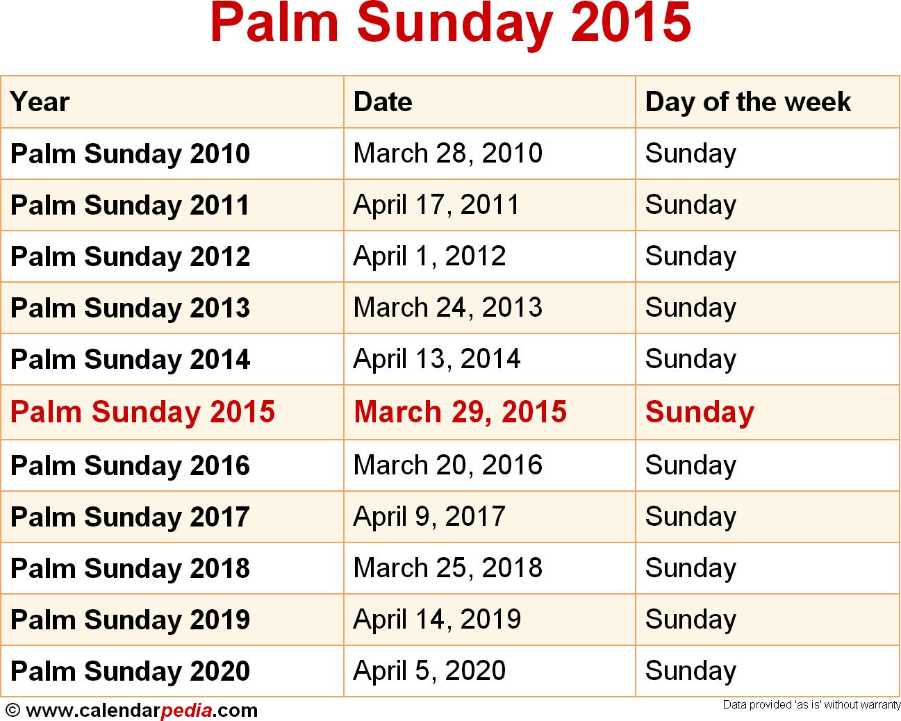 Easter 2015 Calendar