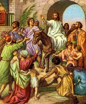 Jesus' triumphal entry into Jerusalem on a donkey (early 1900s Bible card illustration)