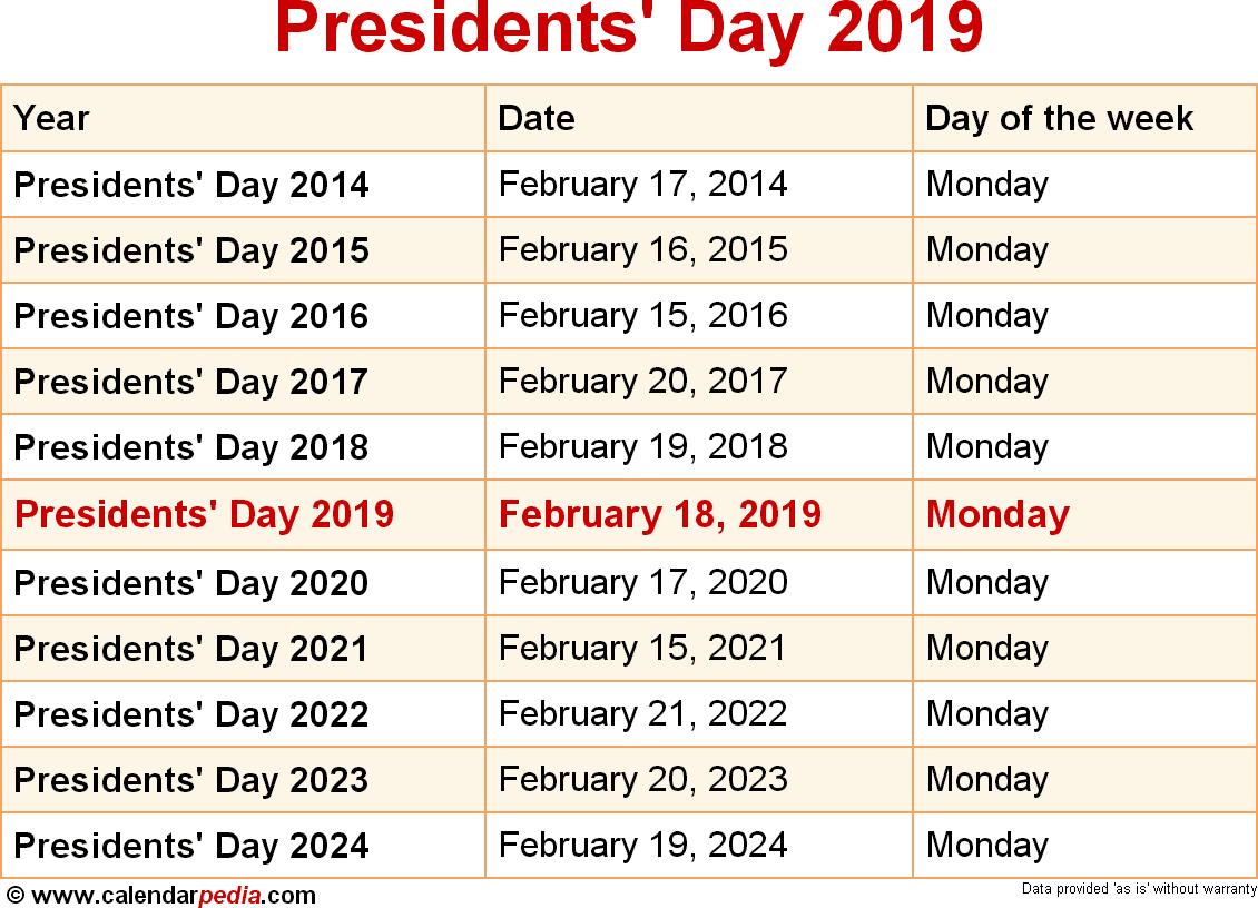 February Calendar 2019 PresidentS Day Days Of Power (2018) | Motavera.com