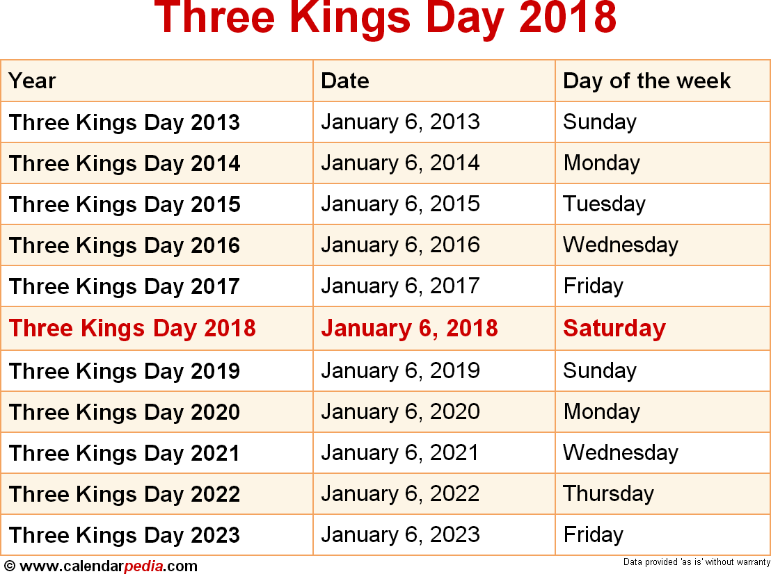 Three Kings Day 2018